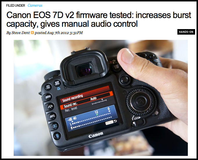 Canon 7d firmware update turns it into a new camera | cult of mac.