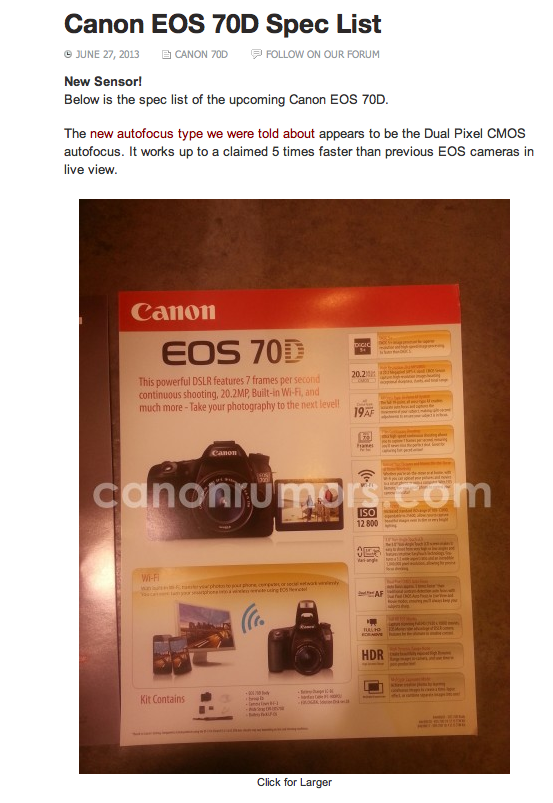 70D Specs Revealed by Canon Rumors com - Michael Andrew
