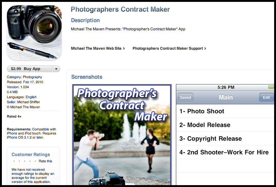 Michael's First iPhone App Revealed! Photographer's Contract